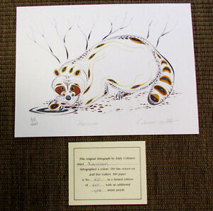 EDDY COBINESS 4-Color Lithograph Art RACCOON Signed 60/400 Ltd. Edition NEW V51
