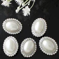 1 Strass-Perlen Knopf, Oval ca. 25x20 mm,Aufnähsteine Silber-Crystal-Ivory.