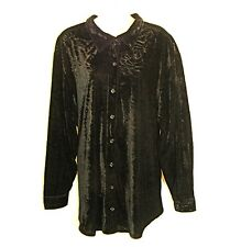 Black Velvet Jacket Top 3X Button Stretch Textured 5% Spandex Shirt JMS Plus