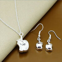 Apple Pendant Necklace And Earrings Set 925 Sterling Silver NEW