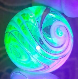 Contemporary glass U.V. reactive Dichroic glass marble by Crisanti 2.02 in.