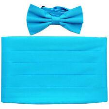 NEW in box men's formal 100% SILK Cummerbund & bowtie set solid aqua blue