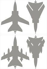 RAF Supermarine Spitfire MK9 Aircraft Silhouette Shape Stickers A4 Sheet Black