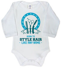"Dirty Fingers Personalised Baby Long Sleeve Bodysuit ""Born to Style Hair Like"""