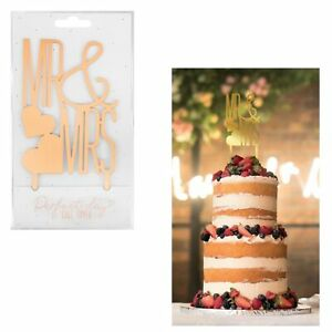 Perfect Day Mr and Mrs Gold Acrylic Cake Topper Wedding Anniversary