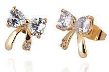 18 k Gold Plated Stud Earrings for Small Girls or Women White Zircons Bows E747