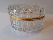 Vintage American Cut Clear Glass/Lead Crystal Hinged Oval Jewelry Trinket Box