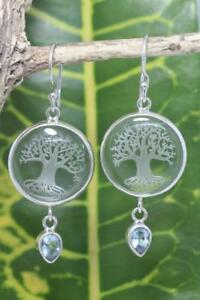 Handmade Sterling Silver .925 Crystal Tree of Life Dangle Earrings w Gem.