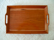 "Hand Crafted Cherry and Walnut Lacquered Wood Serving Butler Tray 20"" x 14"""