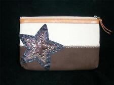 Genuine Brighton Windstar Canvas Cosmetic Bag w/Leather Star Applique E9564W NWT