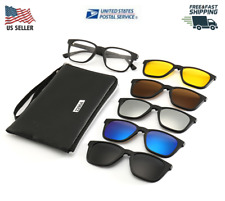5 in 1 Sunglasses Clip on Magnetic Lens Swappable Polarized  Retro