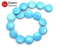 """25mm Blue Coin Stripes Natural Turquoise strings Beads for Jewelry Making 15"""""""