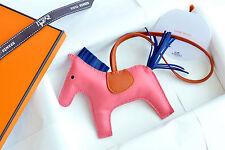 NIB HERMES Rodeo Grigri Horse Leather Bag Charm MM Rose Azalea Pink Orange Blue