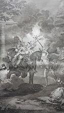 DON QUICHOTTE et  SANCHO cheval bois GRAVURE PICART d'aprés COYPEL XIXéme