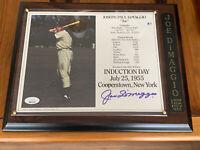 JOE DIMAGGIO (1713/1955) AUTO Premium Graded 8X10 PHOTO/plaque JSA Free Shipping