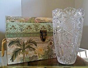 "Vintage 10"" VASE AMERICAN BRILLIANT CUT CRYSTAL Sawtooth Etched Large Glass 6 lb"