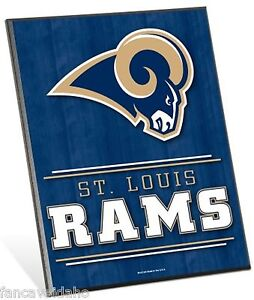 """NFL St Louis Rams Logo Premium 8"""" x 10"""" Solid Wood Easel Sign"""