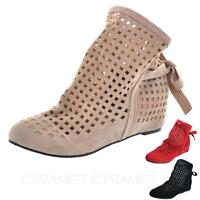 Ladies Ankle Boots Lace Flats Womens Slip on Shoes wedges Sandals Size VANCY