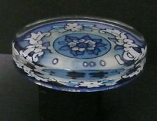 GLASS PAPERWEIGHT~  FLAT BASE BLUE & WHITE FLORAL DESIGN GLASS PAPERWEIGHT