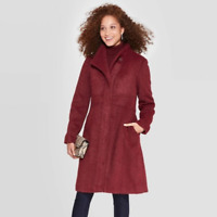 A New Day Women's Coat Size Small S Maroon Red Long Sleeve Knee Length