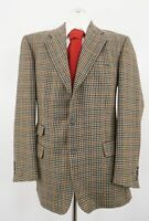 Burberry Sakko Bristol-S Gr.52 beige kariert Einreiher 3-Knopf Tweed Wolle -C239