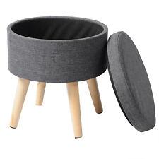 Sitzhocker Fußhocker Hocker mit Stauraum Leinen MDF Holz SH08dgr-1 Dunkelgrau