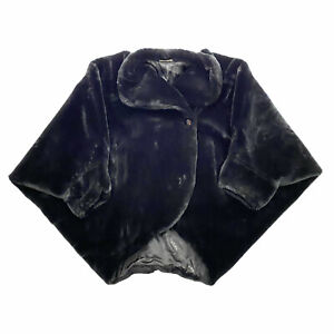 Pierre Cardin Paris Fluffy Women's Poncho Batwing Coat | Vintage Designer Black