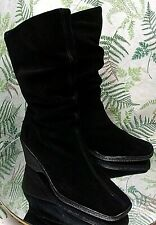 BASS BLACK SUEDE LEATHER SLOUCH FASHION DRESS BOOTS SHOES US WOMENS SZ 6.5 M
