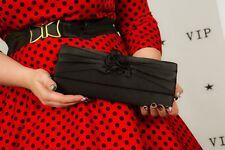 Black satin rosette clutch bag evening bag