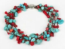 Beautiful Chunky Multi-Strand Turquoise Gemstone and Red Coral Necklace