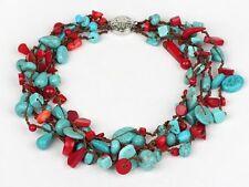 Hermosa Grueso multi-hilo De Piedras Preciosas de Color Turquesa Y Collar De Coral Rojo