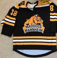 Original MADDOGS MANNHEIM Spieltrikot Nr. 38 schwarz-gelb Eishockey Gr 50 METZEN