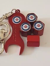 MOD TARGET LAMBRETTA RED Wheel Valve Dust caps & Spanner/Keyring All Models