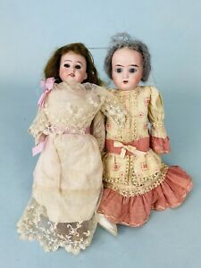 """Two 12"""" Antique German Bisque Dolls for Parts, Clothing, and Repair $1.00 Bid"""