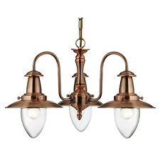 Searchlight 5333-3CU Fisherman Copper Celing Light with Oval Seeded Glass Shade