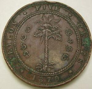 CEYLON 5 Cents 1870 - Copper - Victoria - XF- 359 ¤