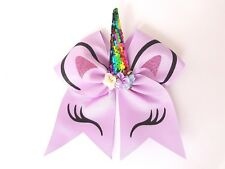 "3D Purple Unicorn Sequin & Glitter Cheerleading Cheer Dance Bow. Large 7"" Inch"