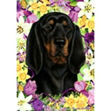 Easter House Flag - Black and Tan Coonhound 33402