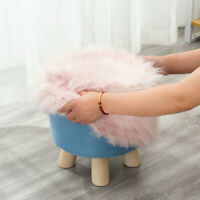 Luxury Faux Fur Round Footstool Cover Soft Furry Stool Chair Seat Cover 13.7in
