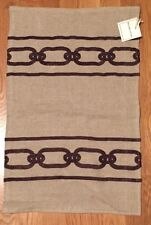 NEW Williams Sonoma Home LINEN Chain Embroidered Pillow Cover BROWN TAN