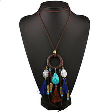 DREAMCATCHER BEAD CRYSTAL STONE TASSLE PENDANT TRIBAL INDIAN STATEMENT NECKLACE
