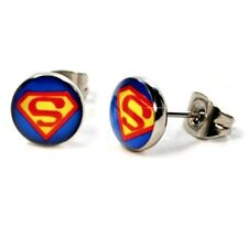 SUPERMAN SUPERMAN STAINLESS STEEL POST Stud Earrings  USA SELLER