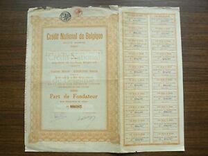 Belgium, Credit National de Belgique Bond Share 500 Francs 1925, Bruxelles