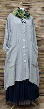 "LAGENLOOK COTTON MIX OVERSIZE CARDIGAN/COAT*GREY*BUST UP TO 60""OSFA XL-XXL-XXXL"