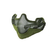 Airsoft Tactical Steel Wire Mesh Half Face Protective Mask with Ears Cover OD