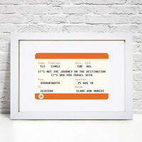 Personalised Train Ticket Print Anniversary Birthday Gift Him Her Husband Wife