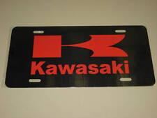 KAWASAKI License Plate/RED on BLACK Aluminum