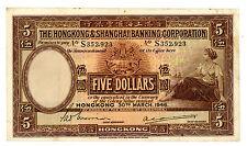 Hong Kong ... P-173c ... 5 Dollars ... 1946 ... *VF*