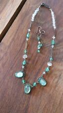 Vintage Green & Clear Stone Necklace & Earring Set for Pierced Ears (v)