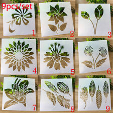 9pcs/set Painting Layering Stencils Leaves Embossing Template Scrapbooking